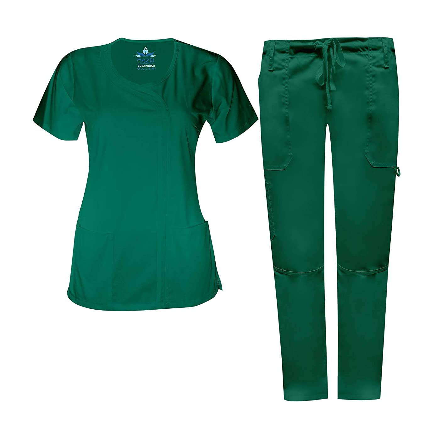 MAZEL UNIFORMS Womens Junior FIT Scrub Set with Cargo Pant Runs Small