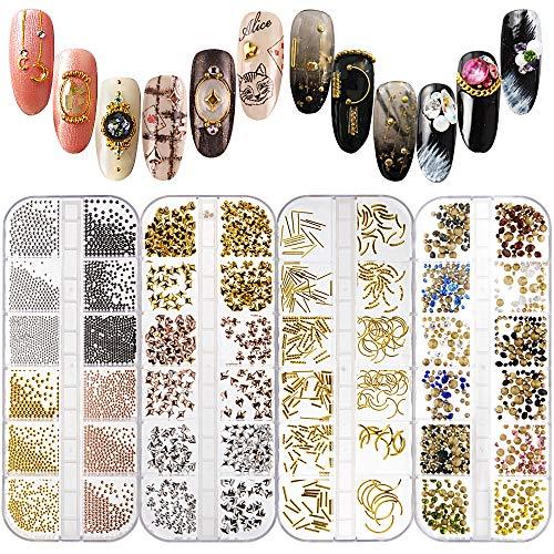 FLOFIA Juego 4 Cajas Decoración Adornos de Uñas Piedras 3D Pedrería Cristales de Uñas Diamantes Rhinestones Póker Palos Perla Acero Nail Glitter Arte de Uñas 48 Cajitas de Estilos Colores Mezclados