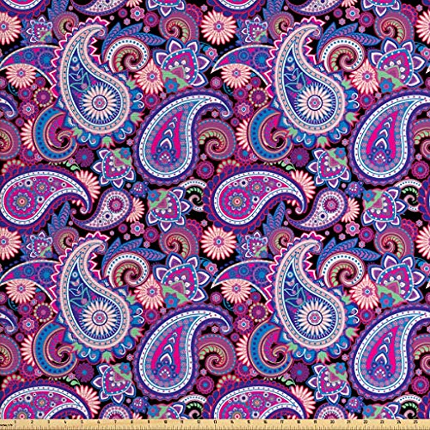 Lunarable Paisley Fabric The Yard, Persian Leaf Figures Asian Flourish East Culture Influences Vintage Paisley, Decorative Fabric Upholstery Home Accents, 2 Yards, Purple Blue Black