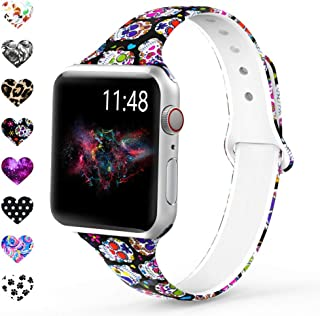 Merlion Compatible with Apple Watch Band 38mm 42mm 40mm 44mm for Women/Men,Soft Silicone Thin Narrow Fadeless Pattern Printed Replacement Floral Slim Bands for iWatch Series 4/3/2/1