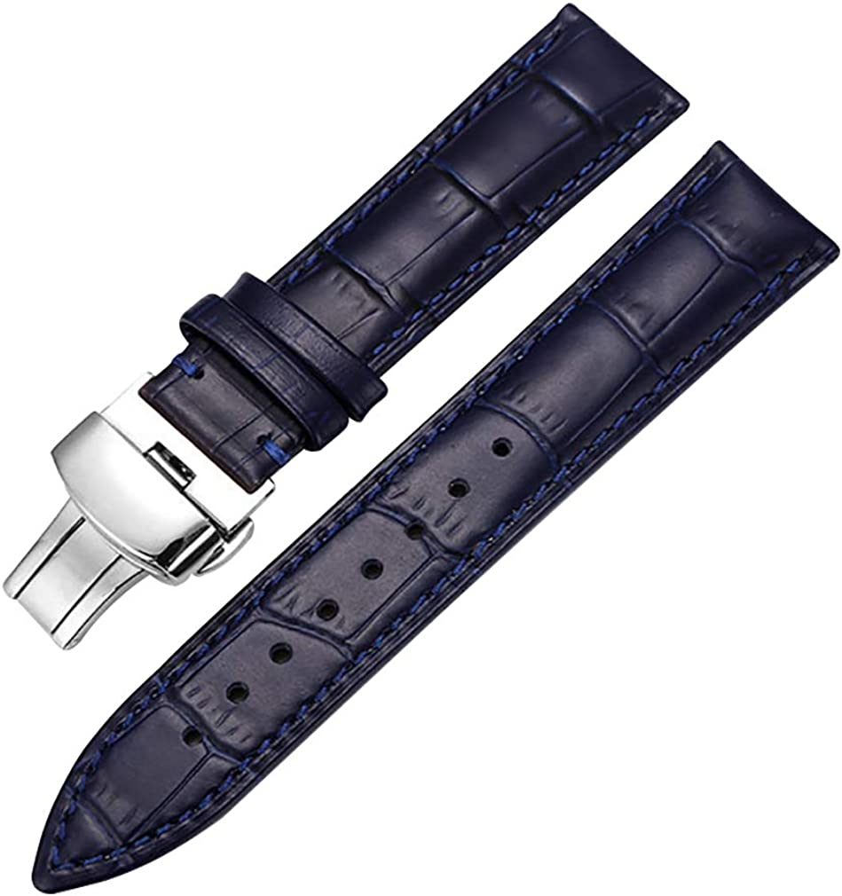 Genuine Calf Leather Watch Band Butterfly Strap Alligator Grain online shopping Animer and price revision