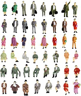1:87 HO Scale People Figures 50PCS | Gdaya Hand Painted Seated and Standing Miniature People Figures Passengers | Model Train Figures Tiny People for Miniature Scenes