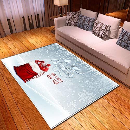 RFEGEF Tapis De Salon,Nordic Minimaliste Moderne Tapis Antidérapant Rouge Sac De Cadeau De Noël Imprimé Argent Gris Mat Décor pour Cuisine Salon Chambre Salle De Jeux, 160X200Cm (62.99X78.74Inch)