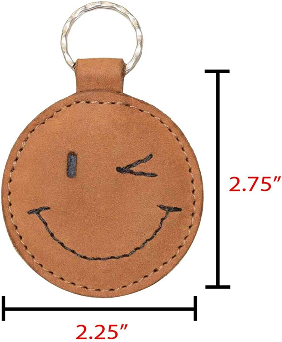 Hide & Drink, Leather Winking Face Keychain Key ring Holder Cute Gifts Accessories, Handmade : Old Tobacco : Clothing, Shoes & Jewelry