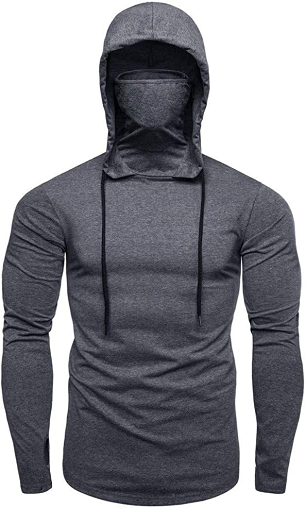 Clearance Mens Athletic Hoodies Mask-Sweatshirts Lightweight Long Sleeve Fishing Workout Headwear Pullover Shirt