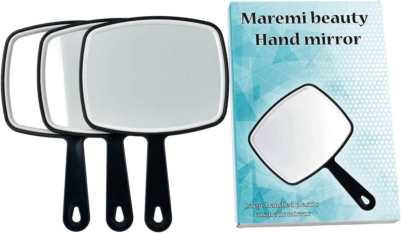 Dallas Mall MAREMI BEAUTY Ranking TOP13 3 Plastic Cosmetic Mirrors with Blac Hand Handle
