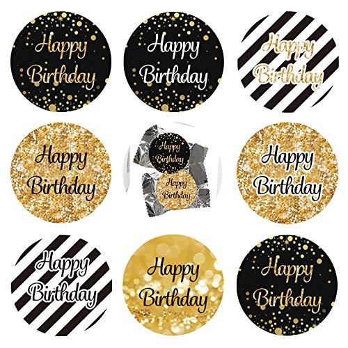 216Pcs Geburtstag Jubiläum goldene Hochzeit Sticker Jahrestag Etiketten Aufkleber Schwarzes und Gold Geschenk-Verpackung Gastgeschenk Hochzeit Mitgebsel für Gäste Geburtstag Fest Etiketten