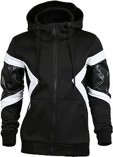 Men Imitation Leather Colorblock Heavyweight Zipper Hoody Hoodie Jacket