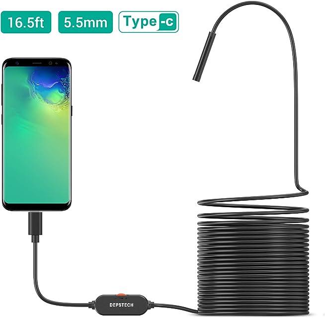 Endoscopio USB DEPSTECH Cámara de inspección ultrafina de 55 mm mejorada Boroscopio de cámara de serpiente resistente al agua semi rígido con 6 luces LED ajustables y USB Adpater-16.5ft