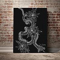 ブラックスネークタトゥートーテム美学抽象キャンバスポスター絵画壁アート装飾部屋研究家の装飾プリント50x70cm20x28inchフレームなし