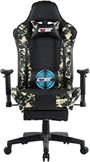 GANK Gaming Chair Large Size Racing Office Computer Chair High Back PU Leather Swivel Chair with Adjustable Massage Lumbar Support and Footrest (Camouflage)