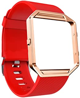 DECVO For Fitbit Blaze Bands, Silicone Replacement Band Strap with Stainless Steel Frame Case for Fitbit Blaze Smart Fitness Watch for Women Men Girls Boys Rose Gold Case (RED, 1 PC)