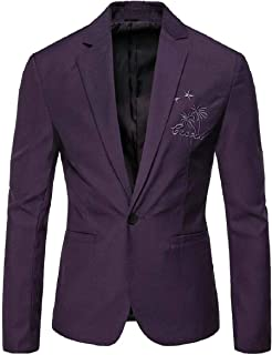 Mens One Button Slim Casual Office Business Dress Coat Blazer