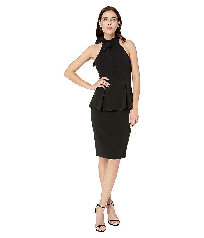 Badgley Mischka  Crepe Jersey Peplum (Black) Womens Dress