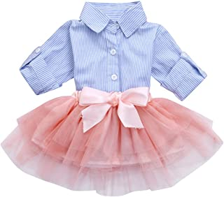 Kehen Fashion Toddler Baby Girls 2pcs Button Down Blue Stripes T-Shirt Tops + Bows Tutu Skirt