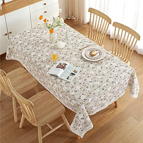 LGLE - Tovaglia in cotone e lino, con pizzo a tarassaco, per decorazione da tavolo in cotone, a prova di polvere, per buffet, feste, cene in vacanza, 140 x 160 cm