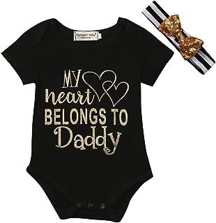 Daddy's Little Princess Infant Bodysuit & Headband Set Cotton Romper Baby Girl One Piece