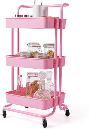"""popular Giantex 3-Tier Utility Cart, Storage Rolling Cart with Casters, Multifunctional sale Organizer Cart with Top Handle, ABS Mesh Baskets, Storage Trolley with Brakes for Home and Office high quality 16.5""""x14""""x34"""" (Pink) online"""