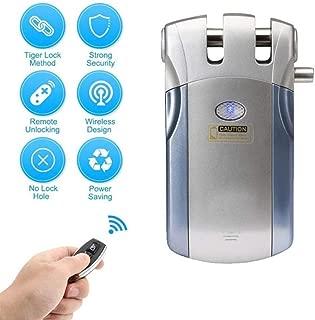 Remote Control Smart Lock, Intelligence Wireless Keyless Anti-theft Door Lock, Fingerprint/Password/Remote Control APP Unlocking Gate Lock Home Security System(silver)