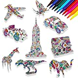 HOWAF 9 Pack 3D Coloring Puzzle Set for Kids Painting Art and Crafts, DIY Puzzle for Kids Creative 3D Model, Educational Toy Gift for Kids Children Birthday Christmas, with 10 Pen Markers
