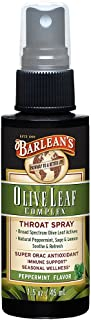 Barlean's, Fresh Olive Leaf Complex, Throat Spray, Soothing Peppermint Flavor, 1.5 oz (44.4 ml) - 2pc