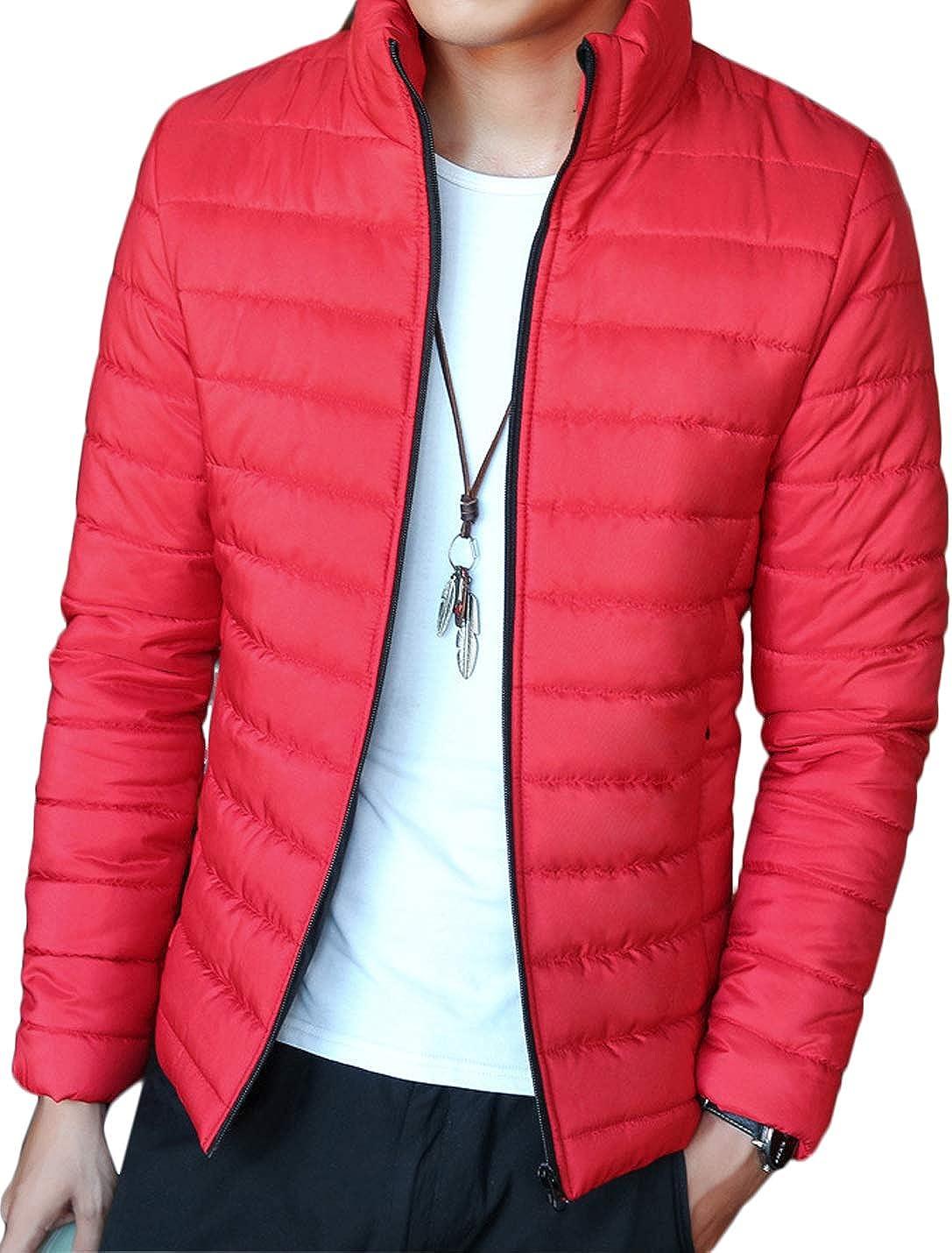 Jenkoon Men's Lightweight Down Alternative Puffer Jacket Insulated Short Coat Jacket