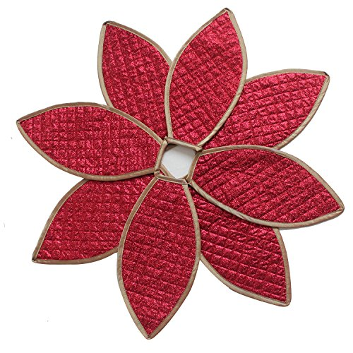 SORRENTO 24' Poinsettia Christmas Tree Skirt Shiny Leaf Design Bling Bling Quilted Tree Skirt(10-15 DAYS DELIVERY)