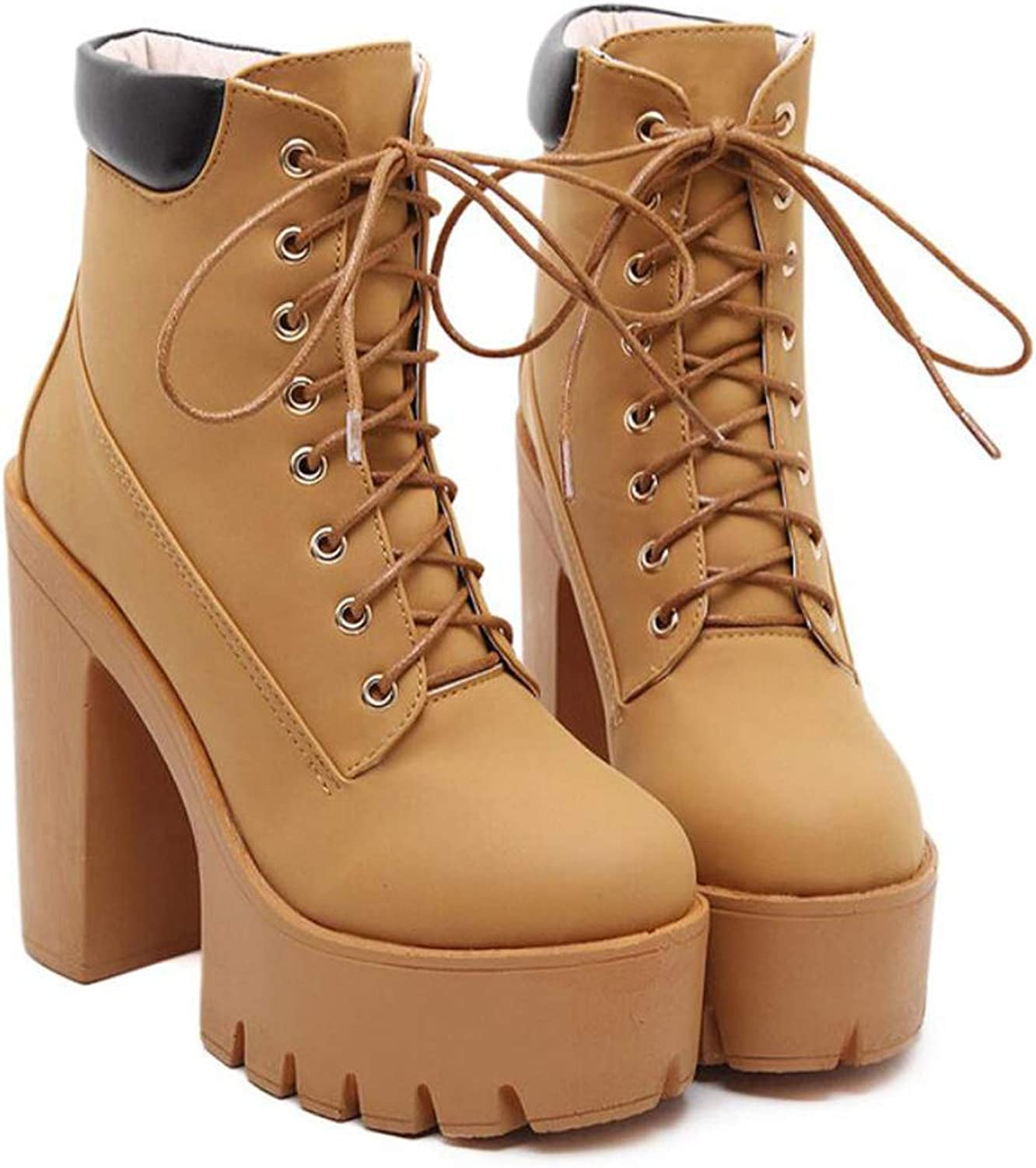 Women's Platform Ankle Boots Super High Heel shoes Lace Up Chunky Heel shoes for Fall Winter
