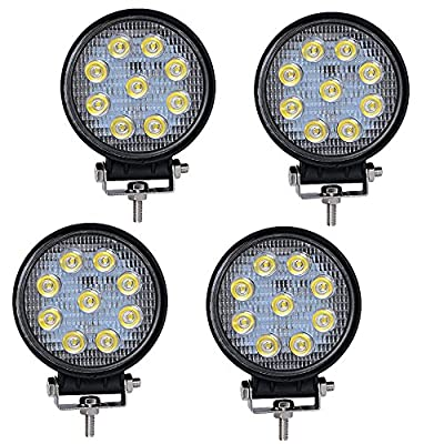 LED LIight Bar YITAMOTOR 4PCS 4Inch 27W Round LED Work Light LED Pod Lights Spot Beam Off Road Driving Light Fog Light Waterproof Truck Car ATV SUV Boat 4WD ATV 12V, 2 Years Warranty