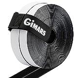 Gimars Velcro adhesivo ancho 20mm * 6M Velcro adhesivo tela doble cara Fijación segura para trabajos manuales y de bricolaje/Equipado con cierre con hebilla para organizar, Negro