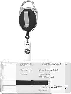 Karteo® Porte-badge Porte-carte d'identité Badge nominatif pour 2 cartes + deux glissières noir avec dragonne noire mousqu...