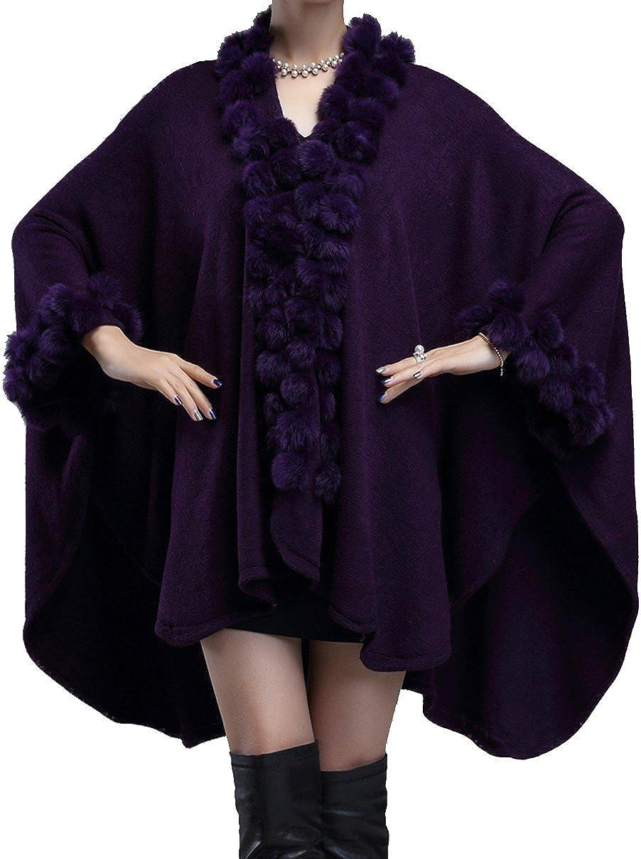 Helan Women's Rabbit Limited time for free shipping Fur Ball Knitting Seasonal Wrap Introduction Fashion Coat Cape