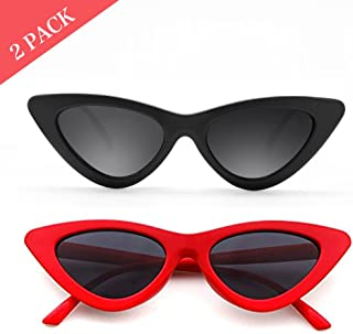 339802214d Cat Eye Sunglasses for Women Red Black Retro Style Plastic Frame UV  Protection 2 pack
