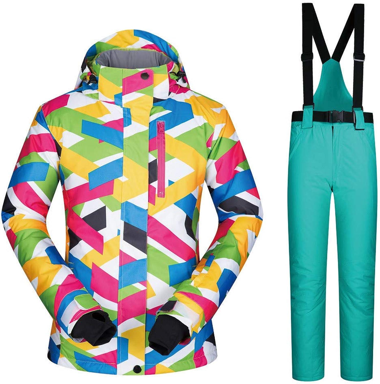Women Ski Jacket Winter Warm Waterproof Windproof Breathable Snowboard Clothing Women's Suit Waterproof Windproof (color   Light Green Pants, Size   L)