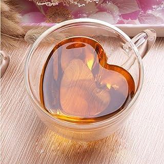 EMERGE Double Wall Heart Shaped Coffee Mug Borosilicate Glass Insulated Tea Cups 250 ml ( Special Gifting )