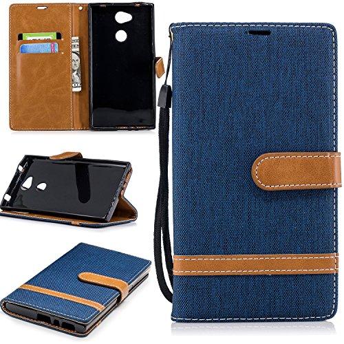 Hülle für Sony Xperia L2 Handyhülle Schutzhülle Leder PU Wallet Bumper Lederhülle Ledertasche Klapphülle Klappbar Magnetisch für Sony Xperia L2 - ZIBF031123 Marineblau