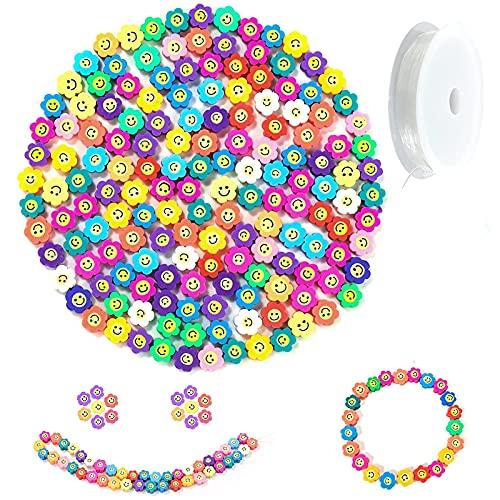 300 cuentas de girasol con cara sonriente, mezcla de flores, frutas, animales, perlas de arcilla polimérica, espaciadoras para bisutería, pulseras, collares, accesorios para mujeres y niñas (un flor)