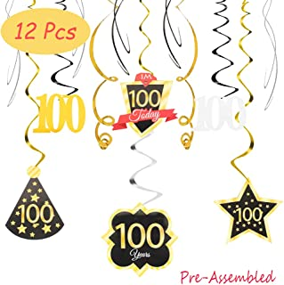 100 Birthday Decoration Happy 100th Birthday Party Silver Black Gold Foil Hanging Swirl Streamers I'm One Hundred Years Old Today Birthday Hat Gold Star Ornament Party Present Supplies