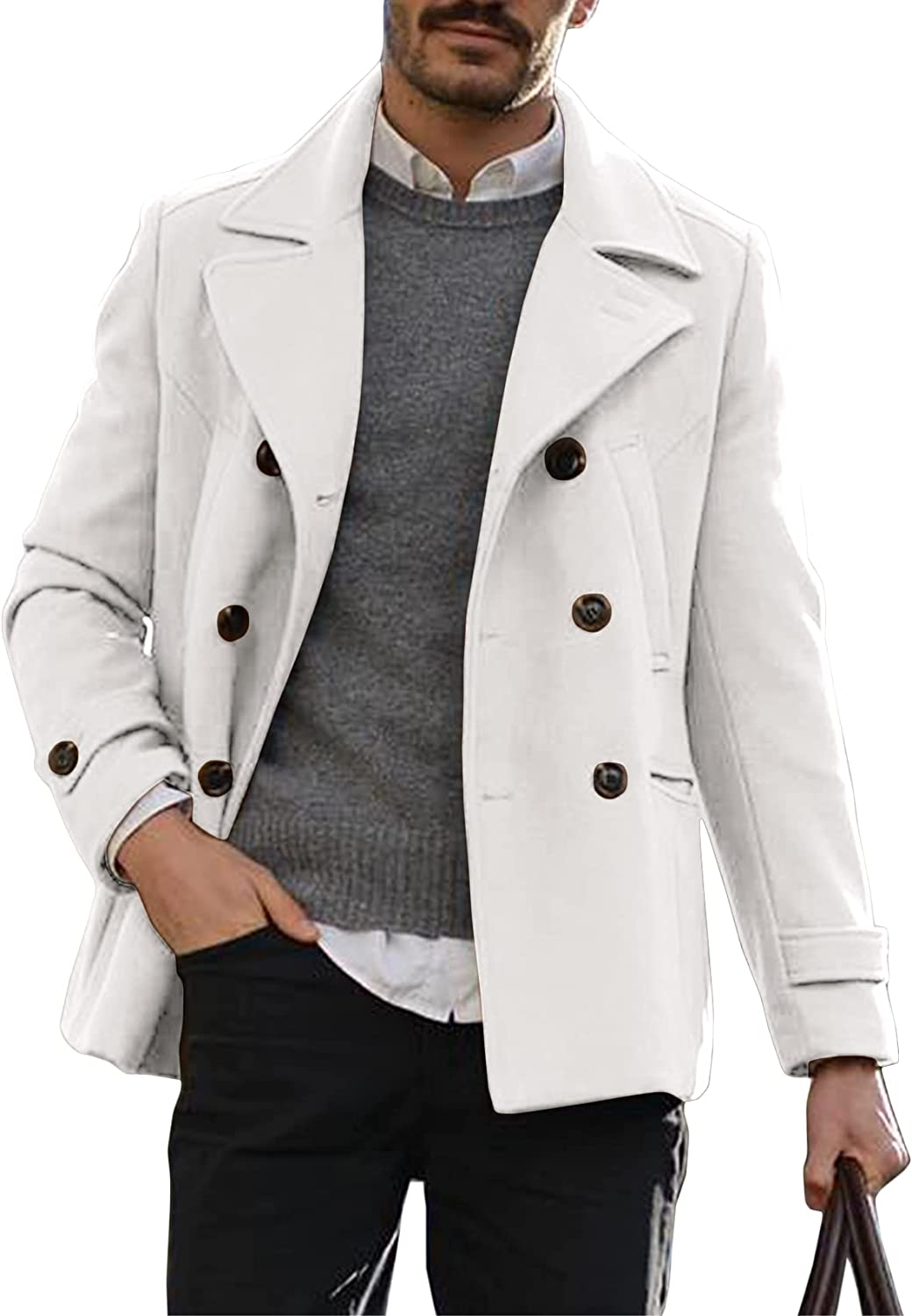 Men's Short Trench Ranking integrated 1st place Coat Double Winter Notched Lapel Sli Breasted Luxury