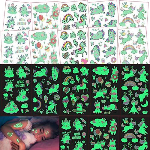 Tattoo Kinder Einhorn Set,Tattoo Leuchten im Dunkeln Kinder,Temporäre Cartoon Tattoos for Kids,Kindertattoos für Mädchen Jungen Geschenke Kindergeburtstag Party