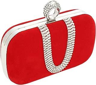 Women Red Crystal Finger Evening Party Handbags Shoulder Bag