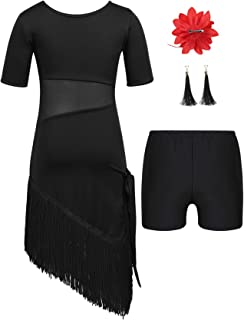 25cc9a2f3e859 Agoky 4Pcs Vêtements de Danse Latine Enfant Fille Robe de Danse Latine  Ballet Costume Salle de
