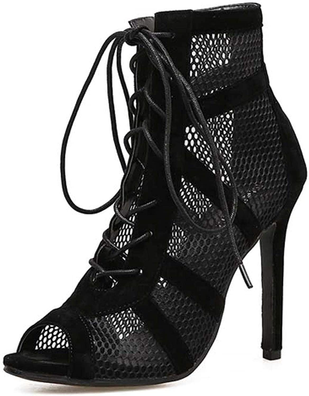 RAINIE002 2019 Fashion Blacksummer Sandals Lace Up Cross-Tied Peep Toe High Heel Ankle Strap Net Surface Hollow Out Sandals