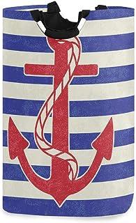Ancres nautiques Anchor Stripes Support de panier à linge étanche, grand panier de sac à linge pliable pour vêtements sale...