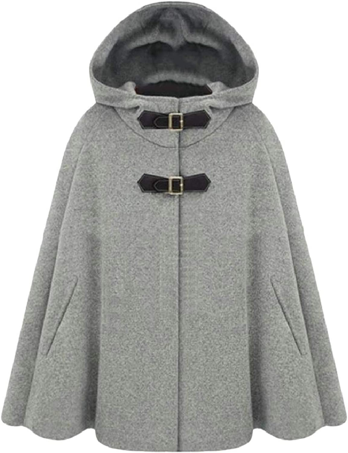 PujinggeCA Woman Winter Solid Cape Cloak Poncho Outwear Trench Coat Overcoat