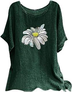 TIFIY Donna Camicie Cotone Lino Top Manica Corta Magliette Casual Estive Elegante T-Shirts Stampa Floreale Moda Camicia Ta...
