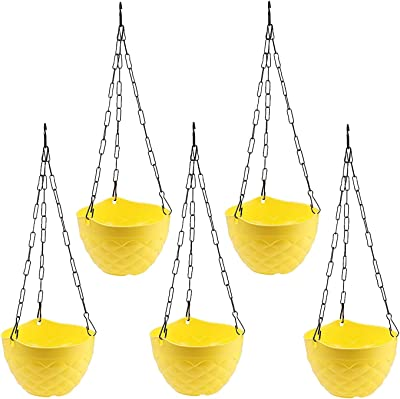 Oshi Greens Diamond Hanging Flower Pot Multicolor Pack of 5