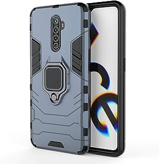 ريلمي oppo reno ace / Realme X2 pro - جراب ضد الصدمات ايرن مان بمسند ظهر حلقة معدنية - لون أزرق