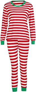 LvRao Soft Comfortable Family Matching Christmas Striped Pajamas PJs Sets Sleepwear