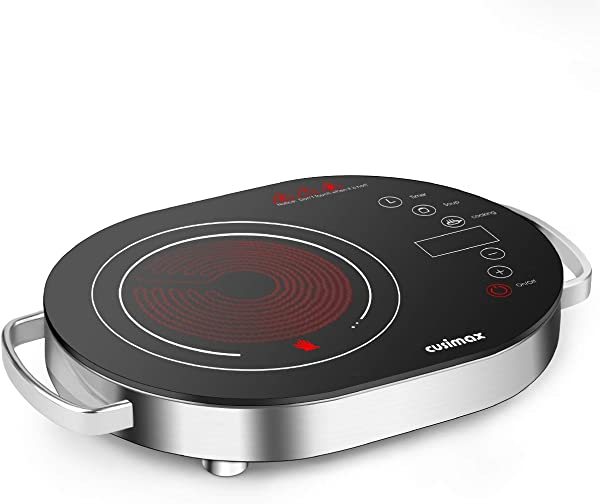 Cusimax Hot Plate Electric Stove 1500W LED Infrared Single Burner Portable Heat Up In Seconds 7 9 Inch Ceramic Glass Cooktop With Touch Buttons Adjustable Temperature For Dorm Office Home Camp Compatible W All Cookware Infrared Burner